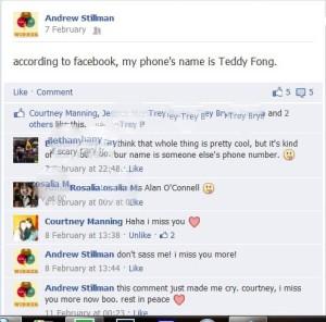 I miss her, too. At least our last conversation was relatively humorous. Also, I don't know how to blur names :P